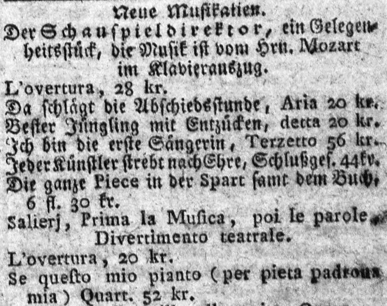 Der Schauspieldirektor - Prima la musica .. (dobová reklama na nové hudobniny)