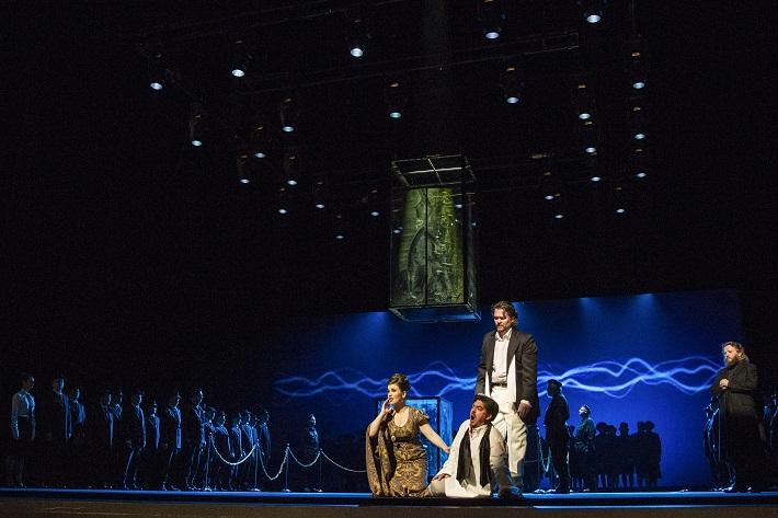 G. Verdi: Simon Boccanegra, Opera SND, 2016, Katarína Juhásová-Štúrová (Amelia Grimaldi), Daniel Čapkovič (Simon Boccanegra), Tomáš Juhás (Gabriele Adorno), foto: Ctibor Bachratý