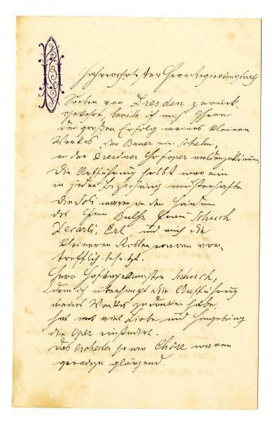 List Antonína Dvořáka kritikovi a estetikovi Eduardovi Hanslickovi, zdroj: NM