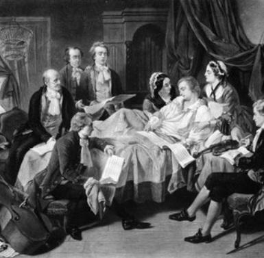 Mozart na smrteľnej posteli, (neznámy autor, koniec 19. storočia)