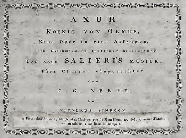 Nemecká verzia opery Axur, (klavírny výťah Ch. G. Neefeho – učiteľa L. van Beethovena)