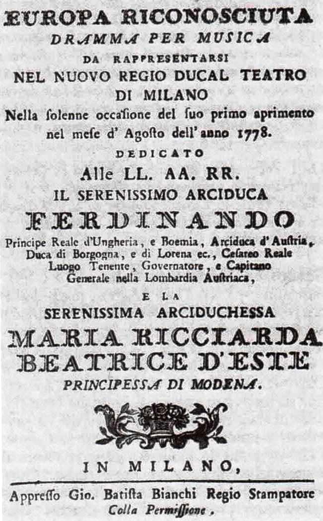 """Plagát k uvedeniu """"inauguračnej"""" opery L´ Europa riconosciuta v milánskej La Scale"""