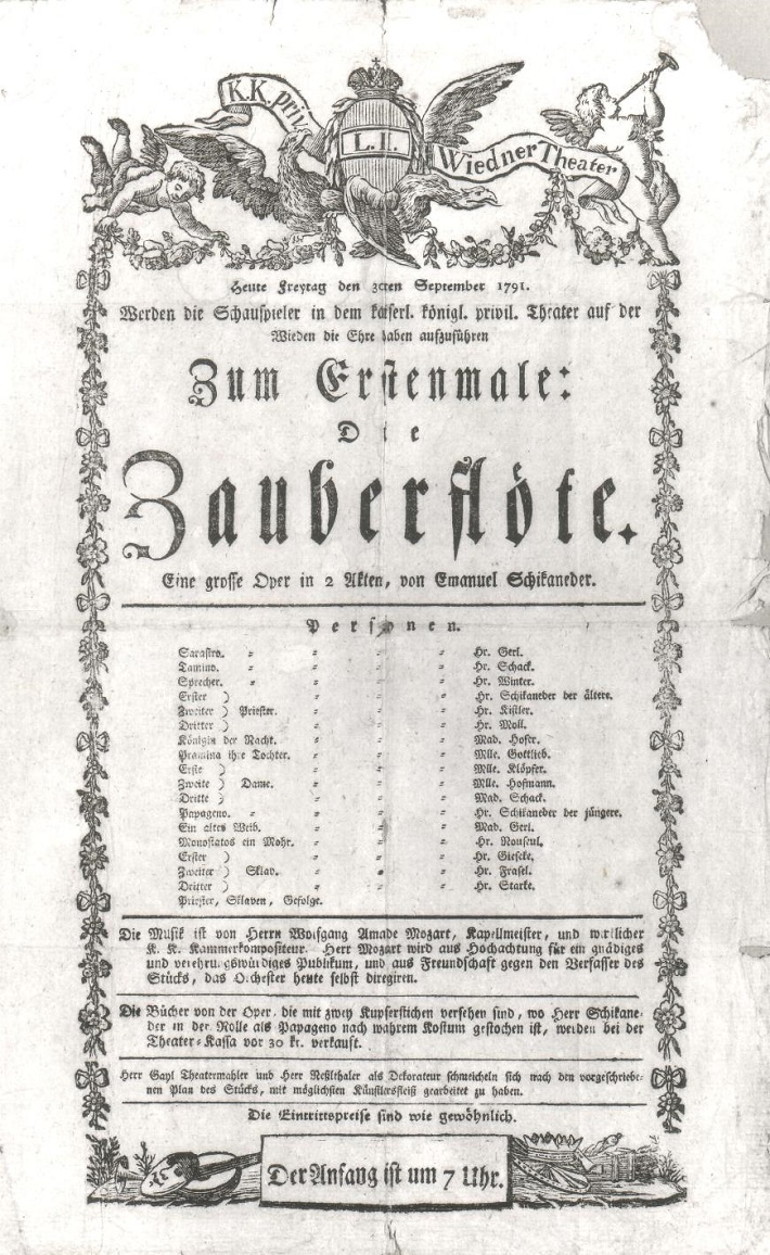 Plagát svetovej premiéry opery Čarovná flauta.jpg