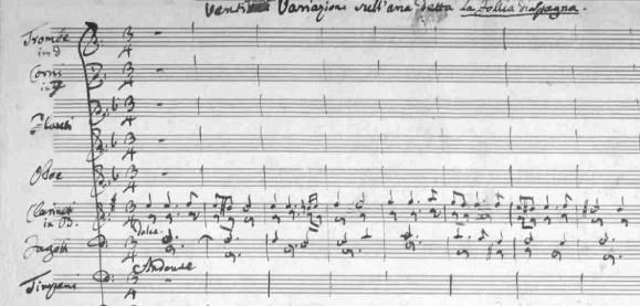 Prvé takty variácií La Folia (Salieriho rukopis)
