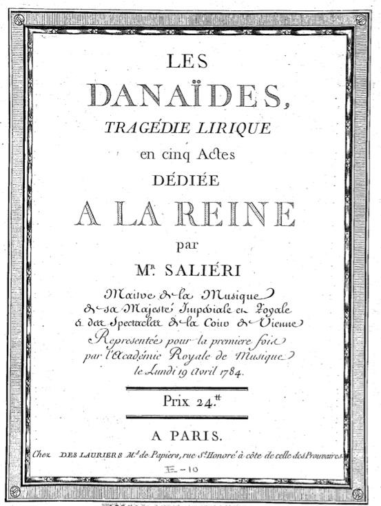 Salieriho Les Danaides (prvé vydanie nôt)
