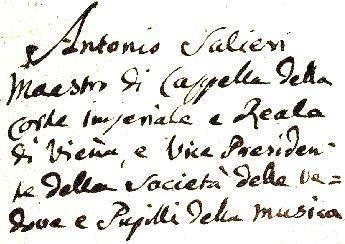 Salieriho podpis (s uvedením aktuálnych titulov)