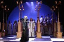 W. A. Mozart: Čarovná flauta, Štátna opera Banská Bystrica, 2016, Mariana Hochelová (Kráľovná noci), Marián Hadraba (Sarastro), foto: Jozef Lomnický