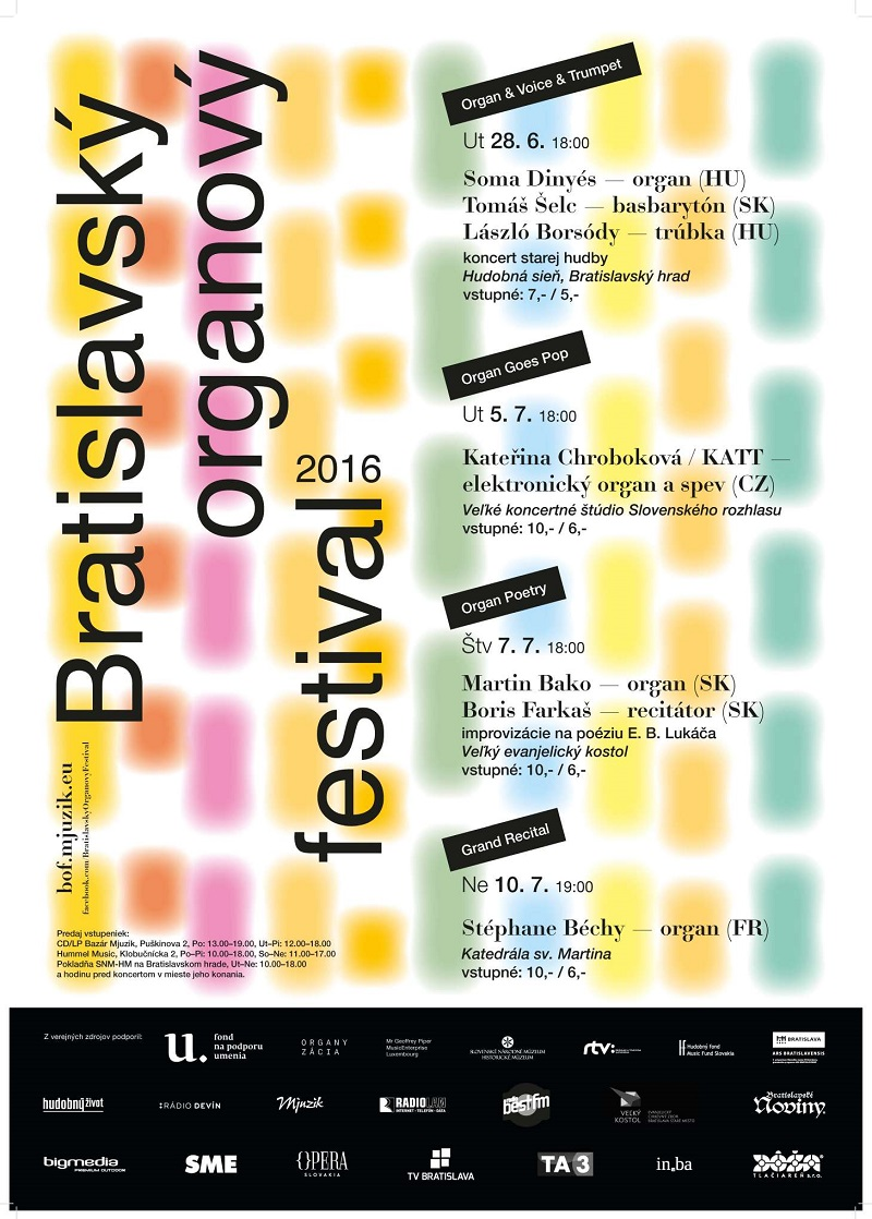 Bratislavský organový festival 2016, plagat
