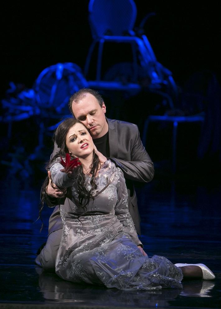 G. F. Händel: Alcina, Opera Štátneho divadla Košice, 2016, Mariana Hochelová (Morgana), Davide Maggioni (Oronte), foto: Joseph Marčinský
