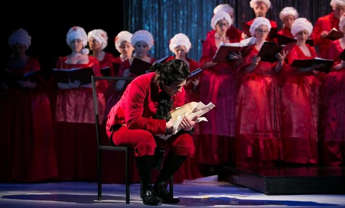 Marián Lejava: Bohom Milovaný, Opera ŠD Košice, 2016, Michal Onufer (Salieri), zbor Opery ŠD Košice, foto: Joseph Marčinský