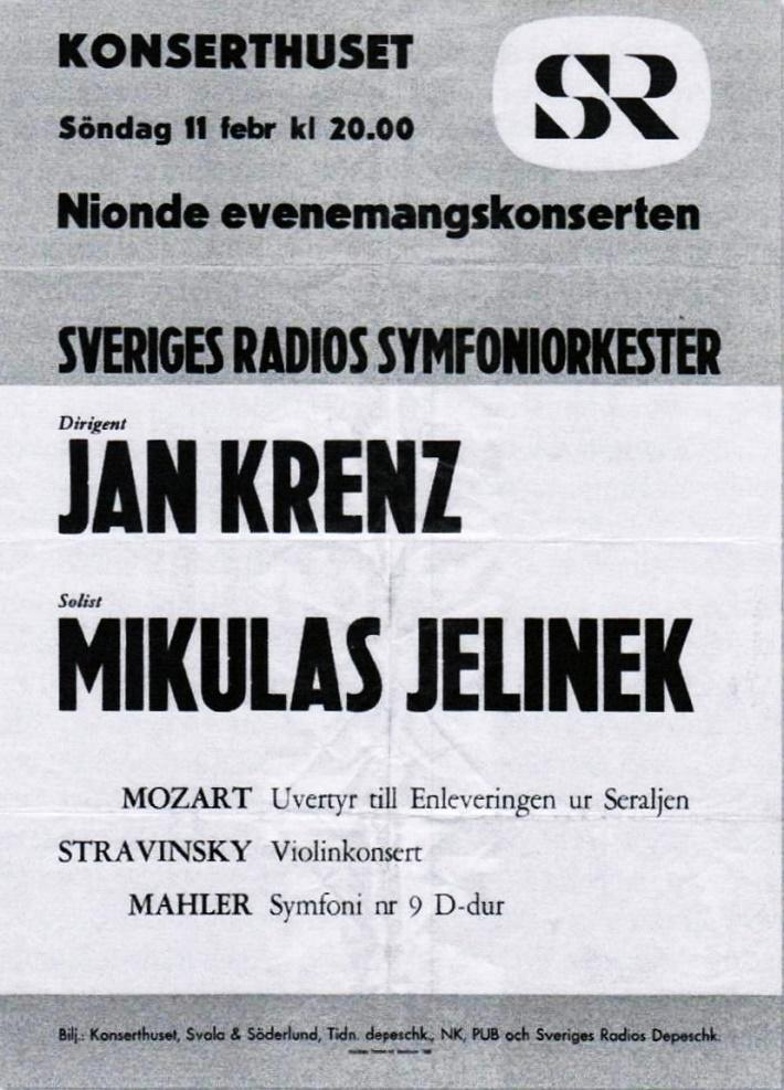 Plagát ku koncertu Mikuláša Jelinka vo Švédsku
