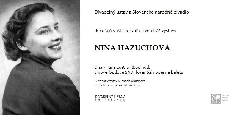 Pozvánka na vernisáž výstavy Nina Hazuchová