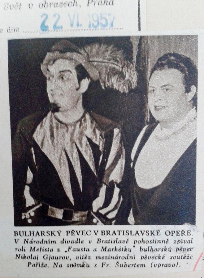 Výstrižok z novín, Nikolaj Gjaurov a František Šubert v Bratislave