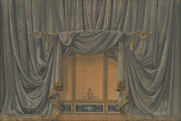 Gustáv Wintersteiner, Návrh na maľbu opony Mestského divadla v Bratislave, 1929, foto: Galéria mesta Bratislavy