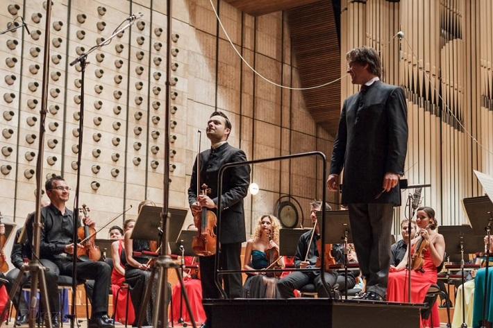 Koncert Slovenského mládežníckeho orchestra v Bratislave, 2016, Juraj Tomka, Dalibor Karvay, Martin Majkút, foto: Peter Drežík