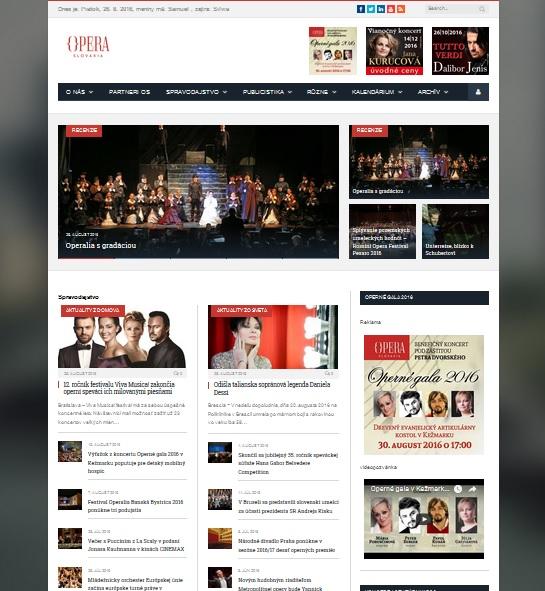Opera Slovakia, náhľad na webstránku