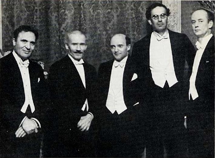 Bruno Walter, Arturo Toscanini, Erich Kleiber, Otto Klemperer a Wilhelm Furtwängler v Berlíne, 1929