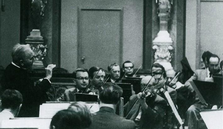 Bruno Walter s Viedenskými filharmonikmi v roku 1954