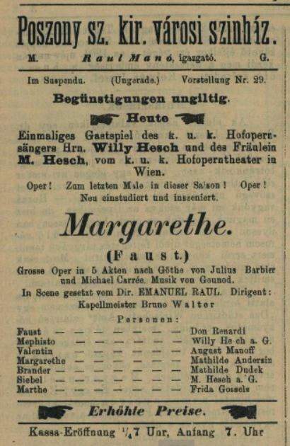 Ch. Gounod: Faust a Margaréta, 1898, pohostinské vystúpenie Viléma Heša (Mefisto), Nyugatmagyarországi hiradó, 20.1.1898