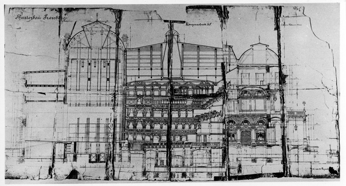 Ferdinand Fellner a Hermann Helmer, Mestské divadlo v Prešporku, projekt – rez hľadiska, 1884, sken archív Divadelného ústavu, Bratislava)