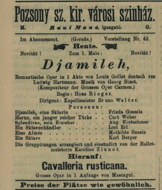 G. Bizet: Djamileh, 1897, Nyugatmagyarországi hiradó, 20.11.1897