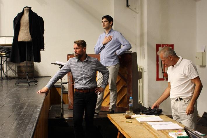 G. Puccini: Bohéma, Opera ŠD Košice, 2016, Jiří Přibyl, Maroš Potokár, Michael Tarant, skúška opery, foto: Dáša Juhanová