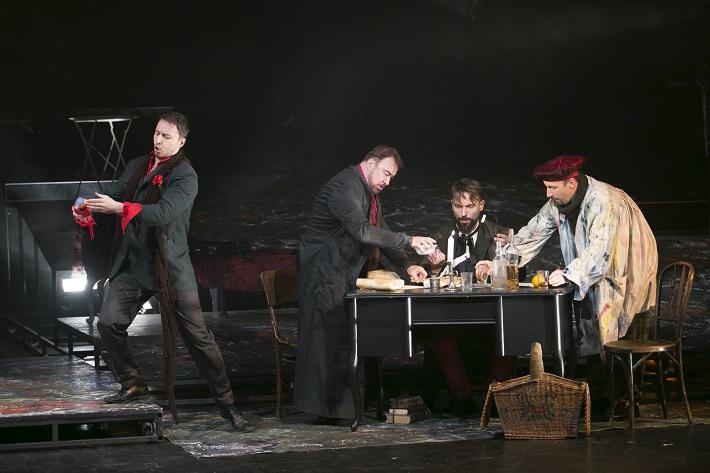 G. Puccini: Bohéma, Opera ŠD Košice, 2016, Martin Kovács (Seržant), Jaroslav Dvorský (Rodolfo), Jiří Přibyl (Colline), Marián Lukáč (Marcello), foto: Jozef Marčinský