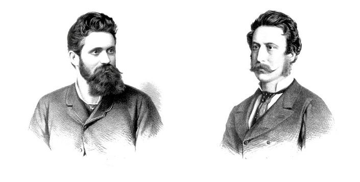 Hermann Helmer (vľavo) a Ferdinand Fellner (vpravo), Viedenskí architekti z ateliéru Fellner & Helmer