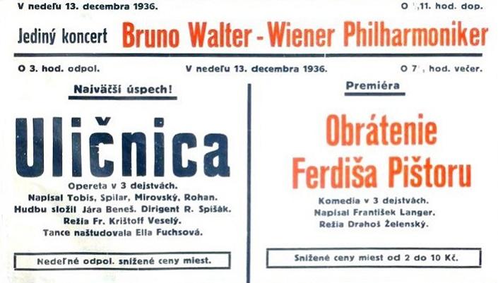 Koncert Bruna Waltera v Bratislave, plagát SND 1936, foto: Archív SND