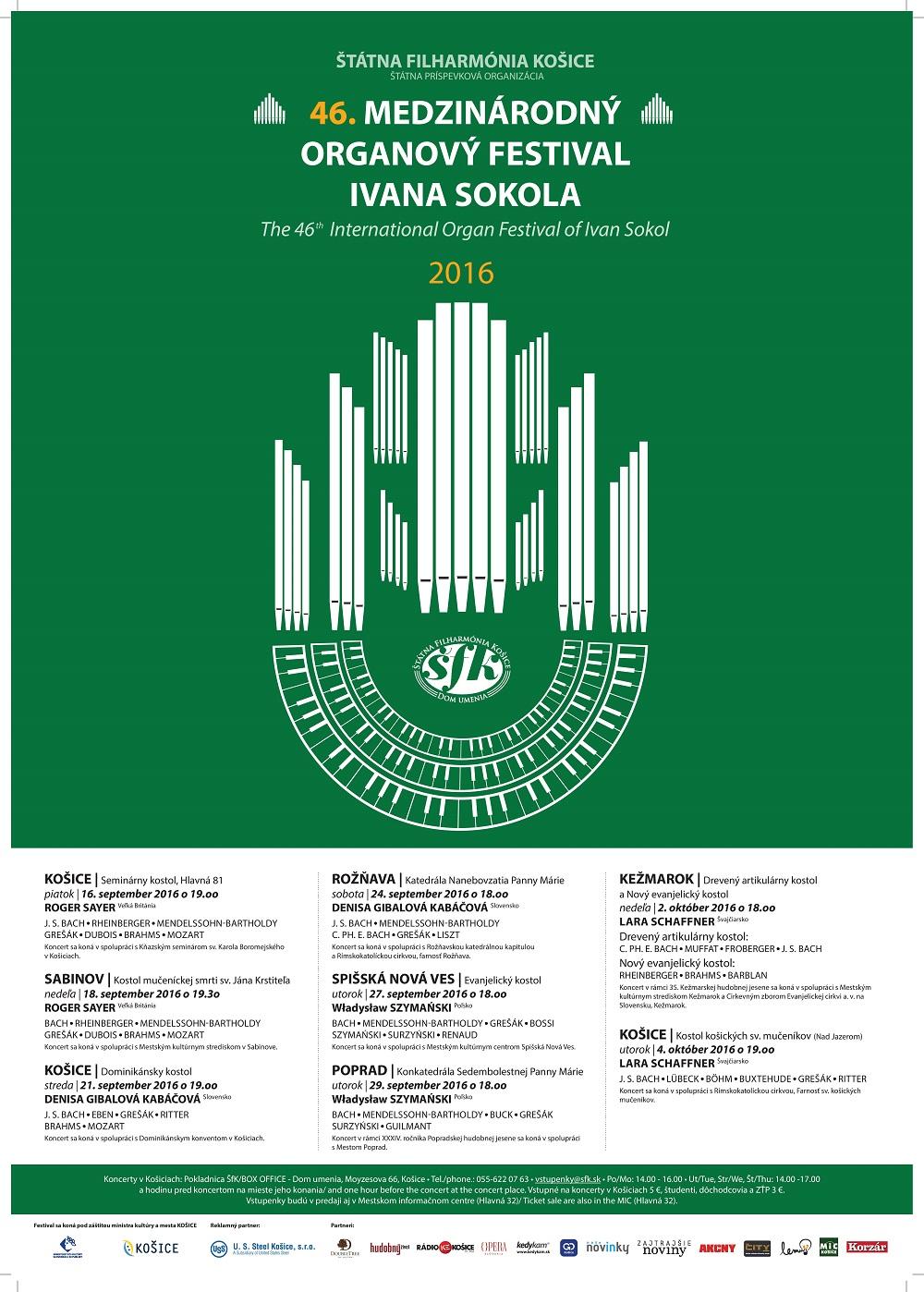 Medzinárodný organový festival Ivana Sokola 2016, plagát