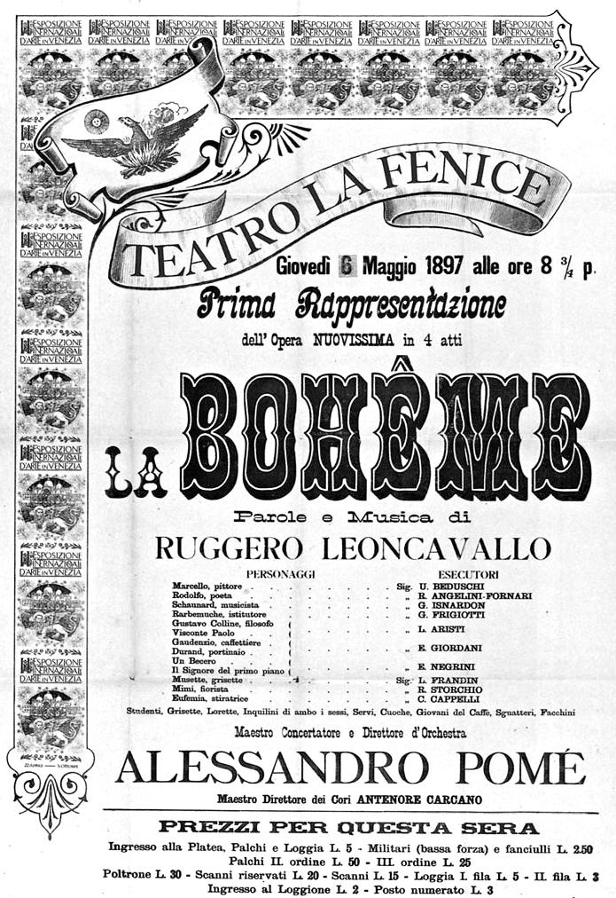 Plagát k premiére Leoncavallovej Bohémy