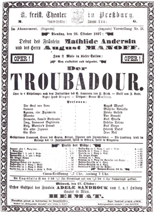 Program prvého predstavenia opery G. Verdiho Trubadúr, Mestské divadlo Prešporok, 1897, foto: Archív DÚ