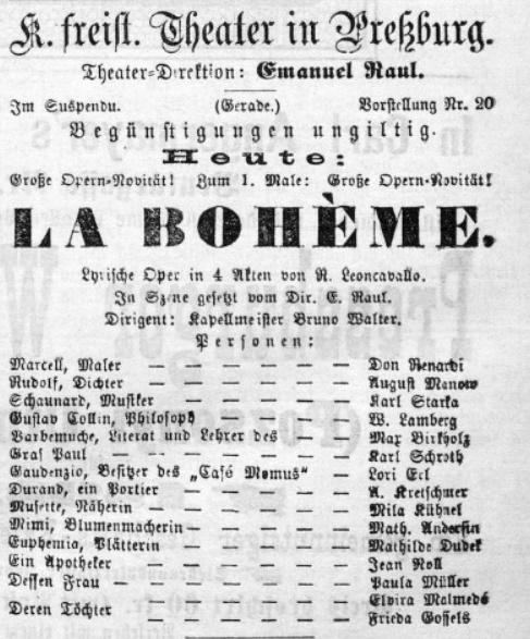 R. Leoncavallo: Bohéma, 1898, Pressburger Zeitung, 8.1.898