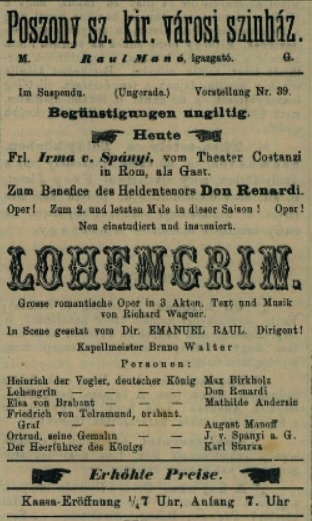 R. Wagner: Lohengrin, 1898, pohostinské vystúpenie Irmy von Spányi (Ortrúda), Nyugatmagyarországi hiradó, 26.1.1898