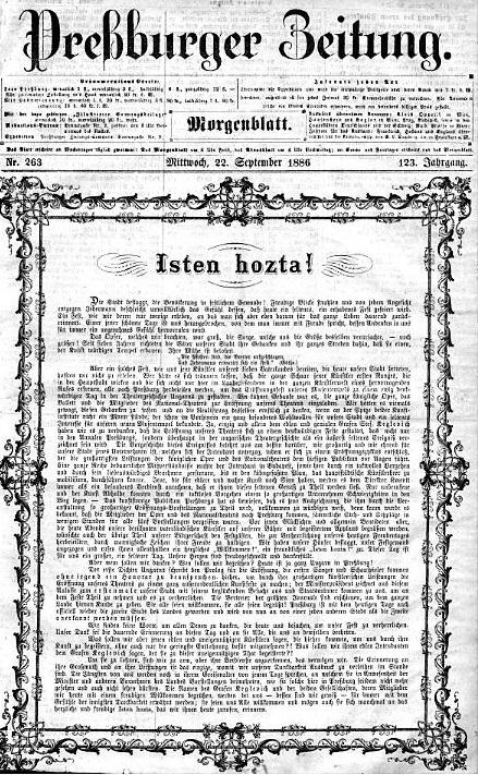 Slávnostný úvodník denníka Pressburger Zeitung, roč. 263, 22.9.1886, č. 123, s.1