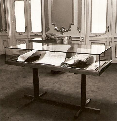 Výstavka písomných pamiatok a mincí, nájdených pri rekonštrukcii divadla 5.5.1971, 1972, foto: Lýdia Grúberová