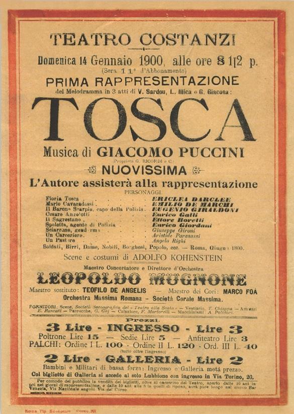 G. Puccini: Tosca, plagát k svetovej premiére opery z roku 1900