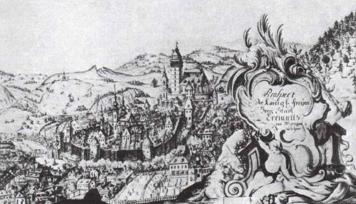 Mesto Kremnica na rytine z 18. storočia