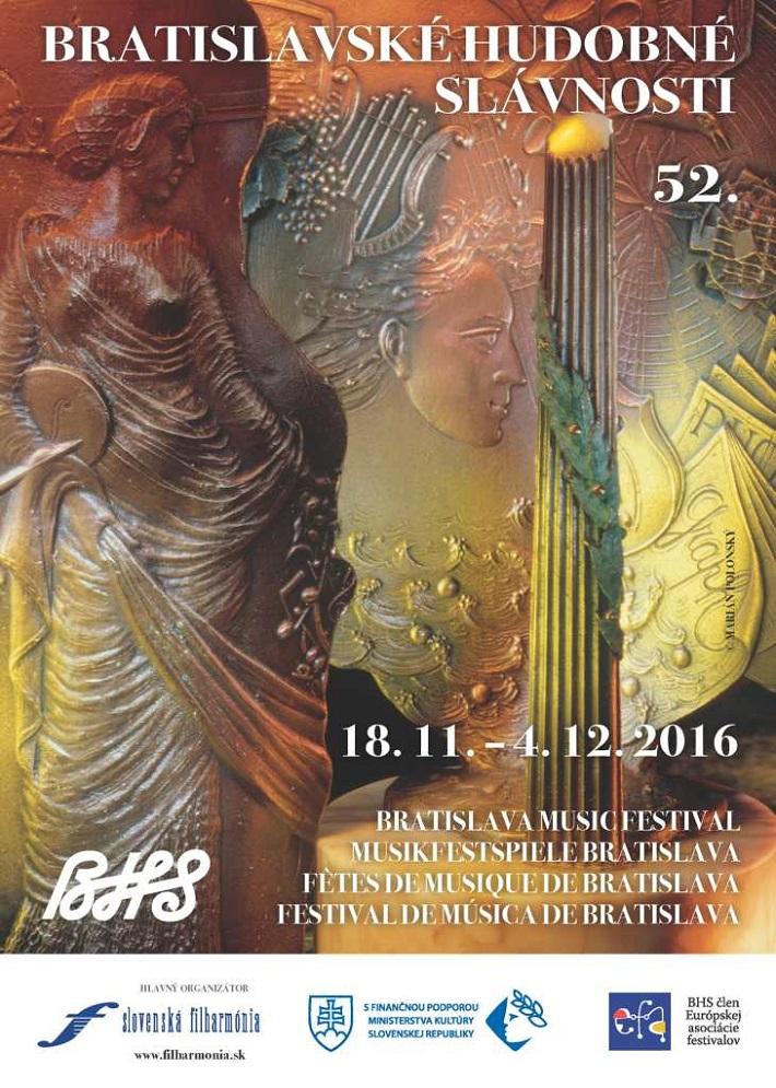 Bratislavské hudobné slávnosti 2016, plagát, Na plagáte 52. ročníka Bratislavských hudobných slávností je použitá reprodukcia bronzovej plastiky známeho slovenského sochára Mariána Polonského