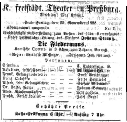 J. Strauss: Netopier, 1888, Pressburger Zeitung, roč. 125, 23.11.1888. č. 324, s. 6