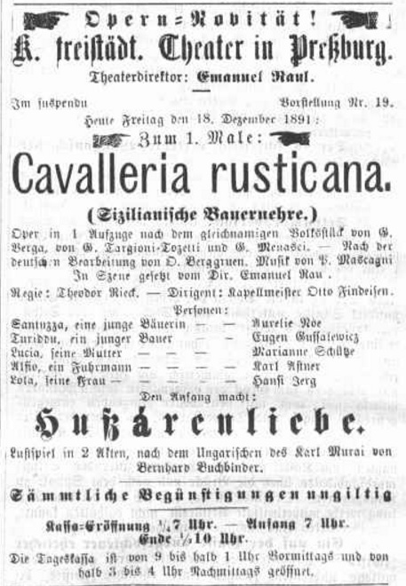 P. Mascagni: Sedliacka česť, 1891, Pressburger Zeitung, roč. 128, 8.12.1891, č. 347, s. 4