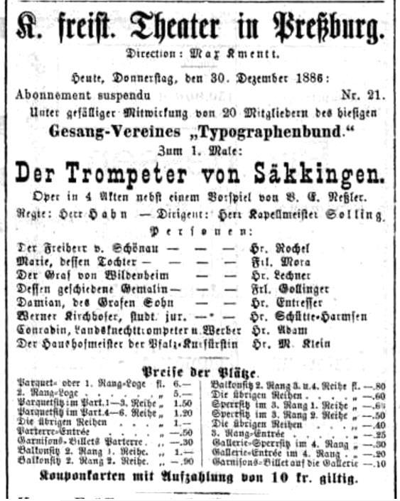 V. Nessler: Der Trompeter von Säkkingen, 1886, Pressburger Zeitung, roč.123, 30.12.1886, č. 360 s. 5