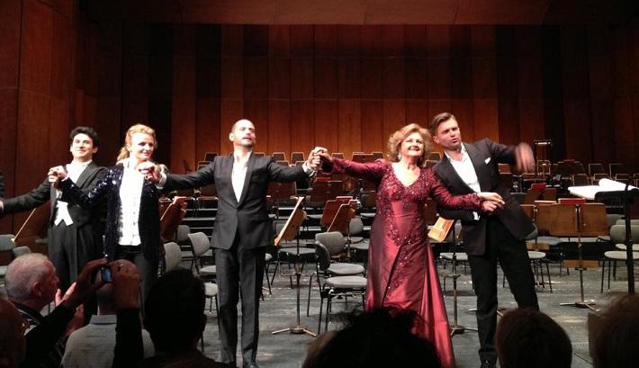 G. Donizetti: Lucrezia Borgia, Deutsche Oper Berlin, 2013, A. Zambrano, J. Kurucová, A. Esposito, E. Gruberová, P. Bršlík, klaňačka po koncerte, foto: súkr. archív J. Kurucovej