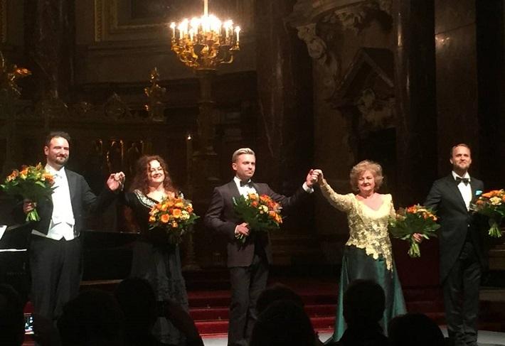 Galakoncert slovenských operných umelcov v Berlíne, 2016, Peter Valentovič, Zuzana Šveda, Pavol Bršlík, Edita Gruberová, Richard Šveda, foto: Veronika Schindler