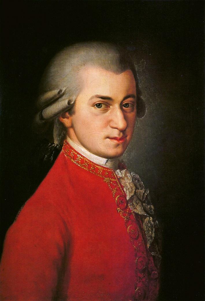 Wolfgang Amadeus Mozart, portrét, olejomaľba od Barbary Krafftovej (1764 – 1825) z roku 1819