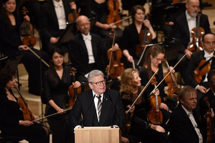 Otvárací koncert Elbphilharmonie Hamburg, 2016, Joachim Gauck, nemecký prezident, foto: Michael Zapf