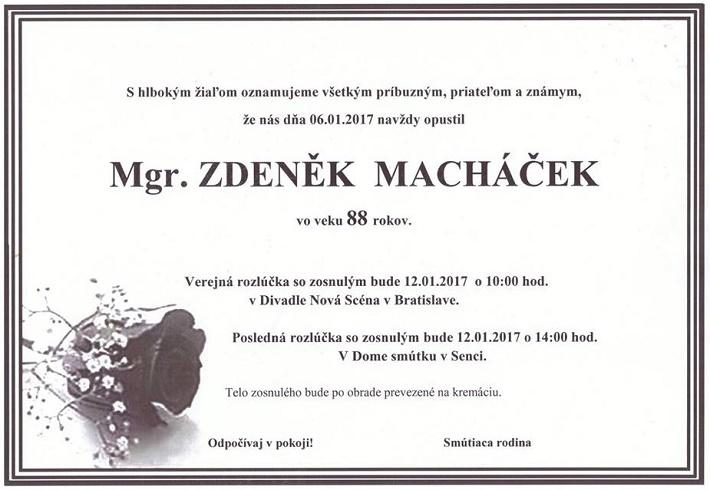 Zdeněk Macháček, parte